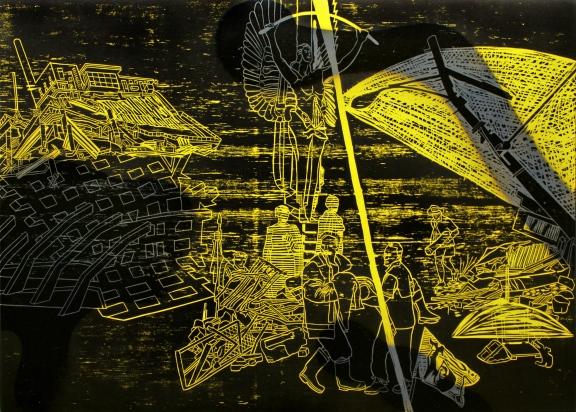 Antony Davies Apocalypse Now -4, Woodcut and spray paint, 500 x 700mm. Wanganui, New Zealand