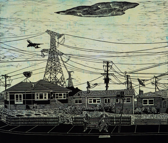 Anne Starling, Suburban Fringe, lino block, dry-point etching, Australia $POA